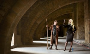 Martin Richardson as Mad-Eye Moody and Eleanor Spencer-Regan as Narcissa Malfoy, at Durham Cathedral, which was used as a location in the first two Potter films.