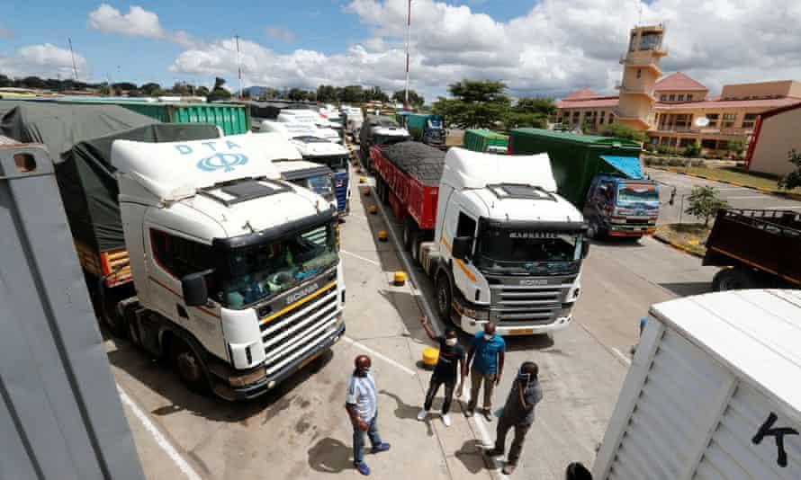 Truck drivers wait for coronavirus test results at the Namanga border crossing between Kenya and Tanzania.