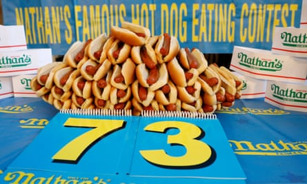 The current record of 73 hot dogs on display for the Nathan's Famous Fourth of July contest.