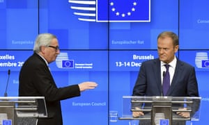 Jean-Claude Juncker and Donald Tusk in Brussels.