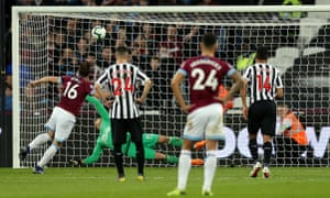 West Ham United's Mark Noble batters the ball into the net to double the Hammers' lead.