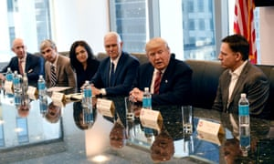 Trump's tech summit, left to right: Amazon's chief Jeff Bezos, Larry Page of Alphabet, Facebook COO Sheryl Sandberg, Vice-President-elect Mike Pence, President-elect Donald Trump and Peter Thiel, co-founder and former CEO of PayPal.