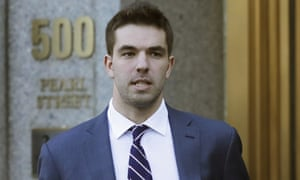 Billy McFarland leaves federal court in New York on 6 March. Judge Naomi Reice Buchwald called him a 'serial fraudster'.