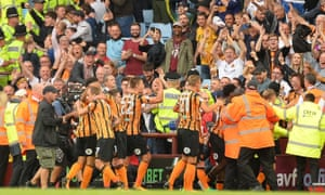 The Hull City players celebrate with striker Jarrod Bowen after he scored the equaliser.