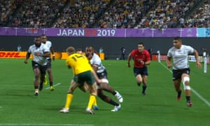 Reece Hodge's high tackle on Peceli Yato that went unpunished in the Fiji v Australia match at the Rugby World Cup.