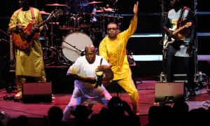 Supreme showmanship … Youssou N'Dour with talking drummer Assane Thiam at the Proms.