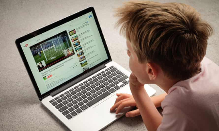 A child watching a YouTube video