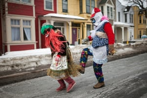 A duo act the fool on the streets of St John's, Newfoundland. But it was not until 1861, when a group of mummers killed a man as he walked home, that it was legally banned. Although many people are thought to have carried on the tradition at home, for many years it largely died out in public.