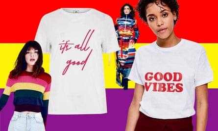 Composite of New Look sweater, River Island T-shirt, Fyodor Golan catwalk and Topshop T-shirt.