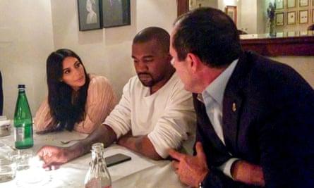 The undoctored image of Kim Kardashian, Kanye West and Nir Barkat, mayor of Jerusalem, at Mona restaurant on Monday