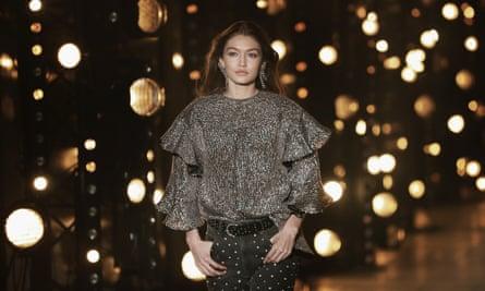 Gigi Hadid on the runway at the Isabel Marant show during Paris Fashion Week last week.