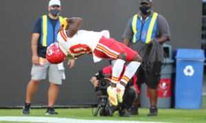Tyreek Hill celebrates one of his touchdowns in the first-half against the Bucs