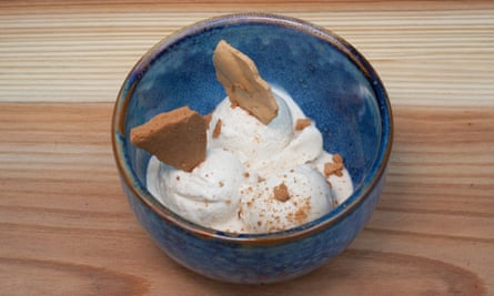 'Served with lemony meringue': peanut ice-cream.