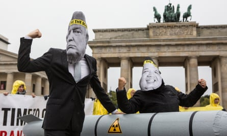 Activists with the international campaign to abolish Nuclear Weapons (Ican) protest in Berlin.