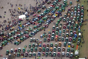 Anti-nuclear protesters line up tractors in Dannenberg, Germany, to demonstrate against the arrival of radioactive waste on the Castor train.