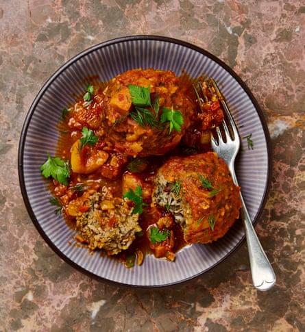 Yotam Ottolenghi's rice kofteh with turmeric tomato sauce.