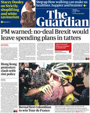 Guardian front page, Monday 29 July 2019