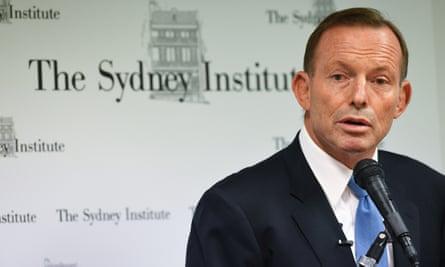 Former prime minister Tony Abbott addresses the Sydney Institute on Tuesday