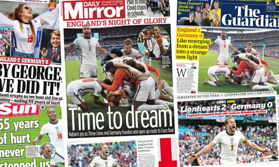 Front pages of the papers on Wednesday after England beat Germany 2-0.