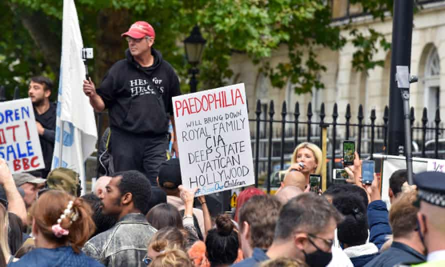 A #SaveOurChildren protest in London, September 2020.