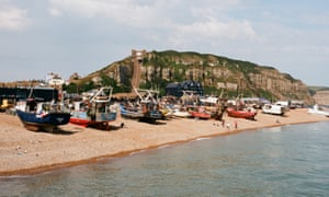 Fishing boats on the beach at the Stade, Hastings, east Sussex.