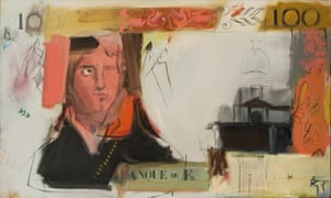 """French Money (Nero), 1962, oil on canvas Pop artists painted American things - including the almighty Dollar itself. Even in Europe, artists in the 1960s were fascinated by Americana, from Peter Blake sporting American badges to David Hockney moving to LA. Yet here is Rivers in 1962, making an icon of the Franc. Or rather, not doing that at all. Far from reducing a French bank note to a stark symbol, he mixes abstraction and sketchy detail to weave a poetic evocation of history. Napoleon becomes """"Nero"""" in a meditation on the art of power."""