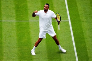 Nick Kyrgios celebrates a point during his third round match.