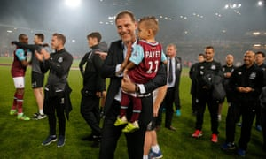 Slaven Bilic applauds the fans at the end of the match.