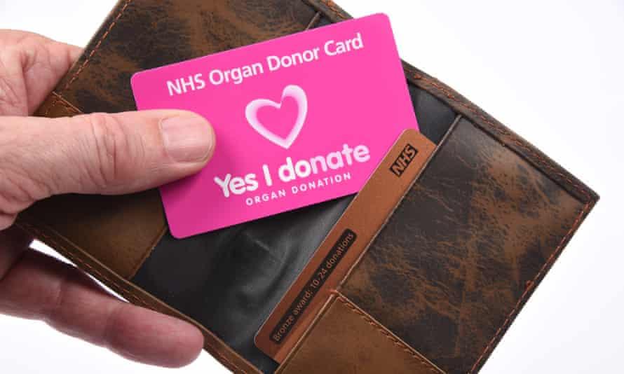 NHS Organ Donor Card.