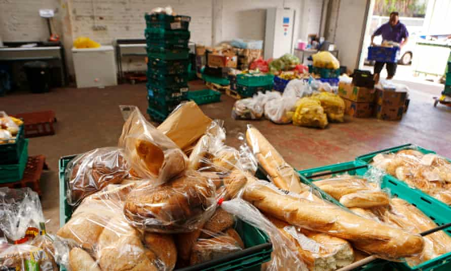 A food rescue warehouse where supermarkets shops and retailers donate items that are that are past their sell-by date but still edible.