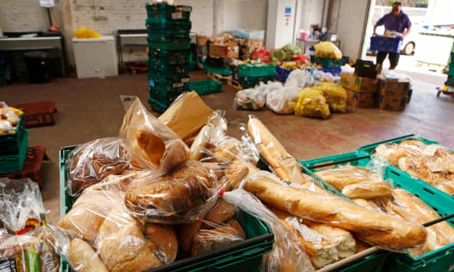 Food donations from supermarkets and retailers at the warehouse of the Real Junk Food Project, a UK-based campaign to stop food waste through redistribution.