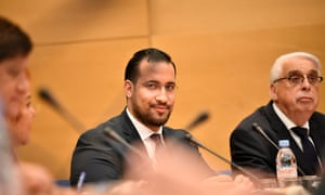 Alexandre Benalla, centre, at a hearing last week by the French senate.