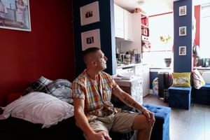 Peter, a tenant of Terminus House, who has personalised his studio flat with his own artwork.