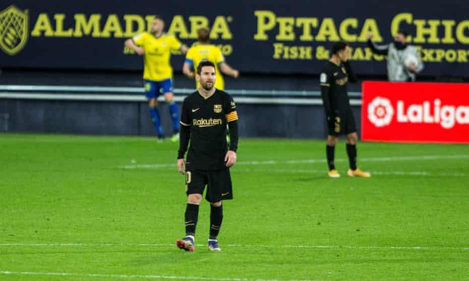 Lionel Messi during the defeat at Cádiz.