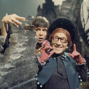 Cliff Richard and comedian Arthur Askey in a TV production scene from Aladdin in 1968.
