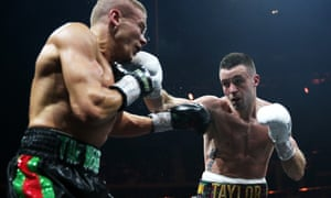 Josh Taylor (right) prepares to swing his left at Ivan Baranchyk of Belarus at their World Boxing Super Series semi-final in Glasgow during May. The Scot won in a unanimous decision.