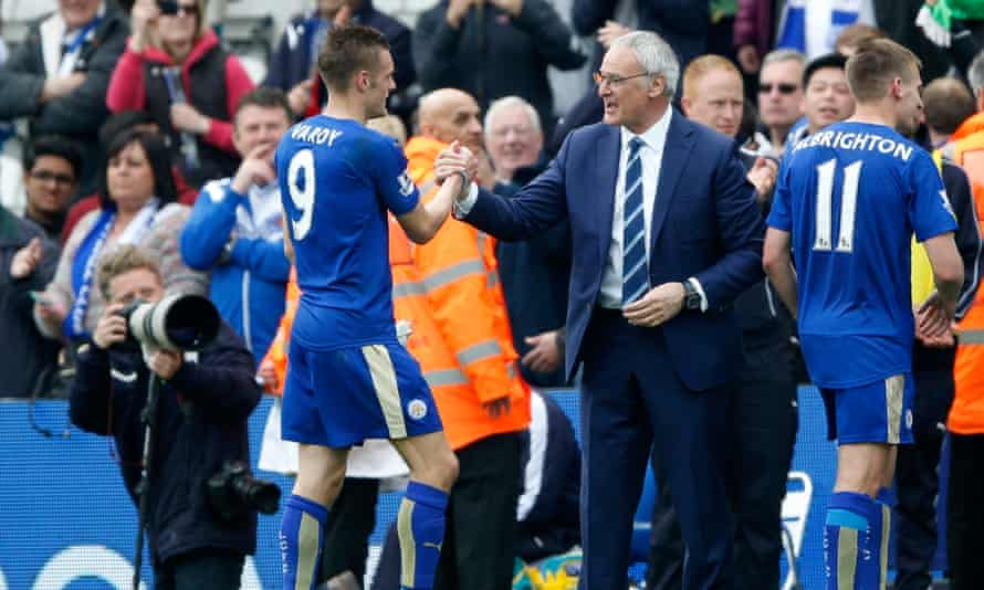 Jamie Vardy, left, celebrates with Claudio Ranieri, following Leicester City's 1-0 win against Southampton at the King Power Stadium on Sunday
