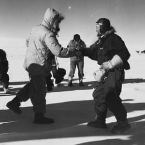 Sir Edmund Hillary and Dr Vivian Fuchs meet at the South Pole at the climax of the Commonwealth Trans-Antarctic Expedition – the first overland crossing of the continent – on 20 January 1958