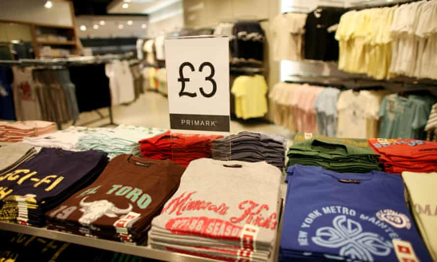 Piles of cheap T shirts in Primark