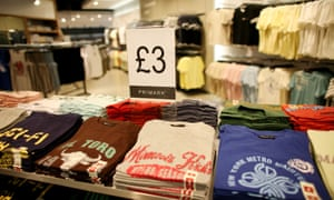 T-shirts selling for £3 at Primark