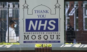 A sign thanking the NHS displayed outside Manchester Central Mosque, as Muslims worldwide mark the start of Eid al-Adha.