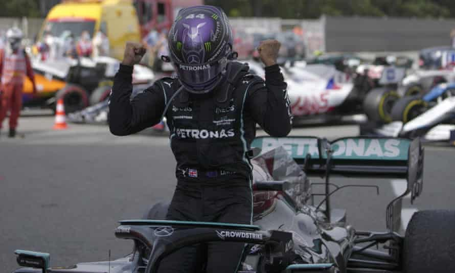 Lewis Hamilton shows his delight after victory in Spain