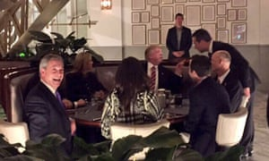 Nigel Farage posted a picture of himself having dinner with Donald Trump.