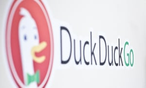 duckduckgo logo on a wall