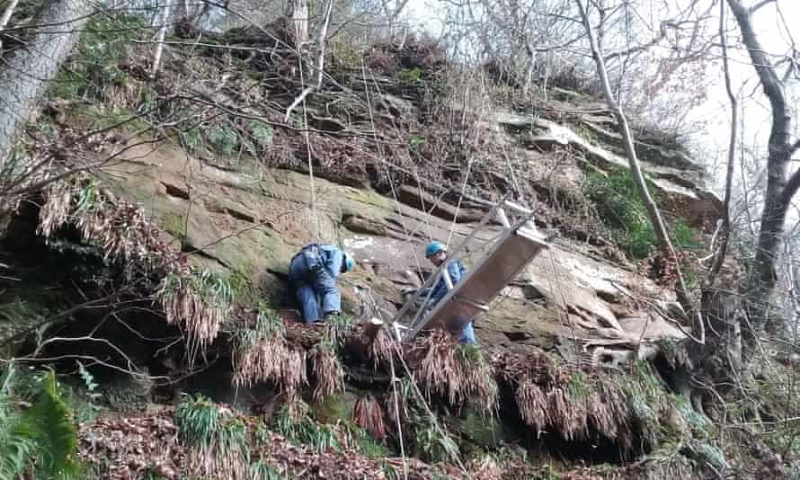 Archaeologists use ropes and pulleys to access the inscriptions at the site near Brampton.