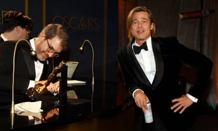 'A public speaker of rare zip and self-awareness' … Brad Pitt waits for his best supporting actor Oscar statue to be engraved last week.