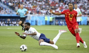 Danny Rose is fouled in England's defeat to Belgium.