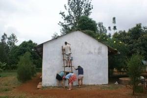 Volunteers working at an orphanage in Kenya