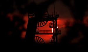 Sunset at a colliery … miners seek only to survive in Bearmouth.