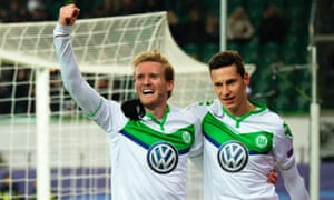 André Schürrle and Julian Draxler advertise Volkswagen while playing for Wolfsburg.